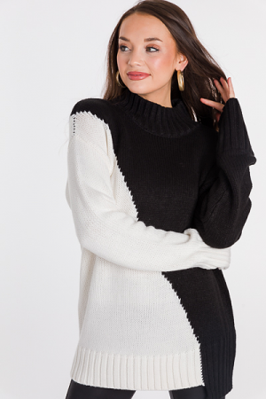 Slant Colorblock Sweater, Ivory
