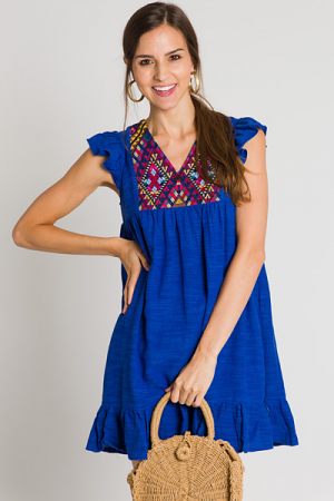 Kate Embroidered Dress, Blue