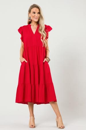 Mid Way Dress, Red