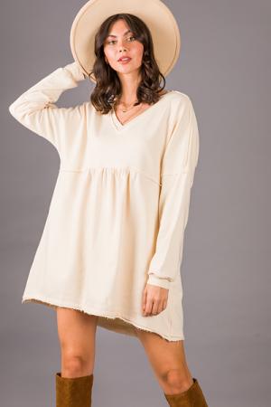 Casual Babydoll Dress, Natural