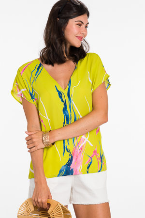 Carmen V Blouse, Lime