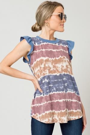 Earthy Dye Knit Top, Navy/Orchid