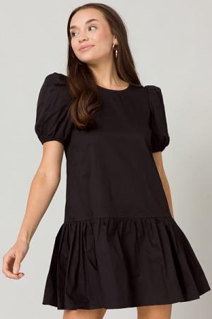 Poplin Pleats Dress, Black