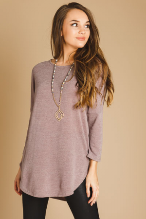 Basic Hacci Top, Taupe