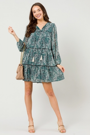 Tiered Paisley Dress, Forest