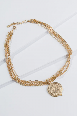 3 Chain Coin Necklace