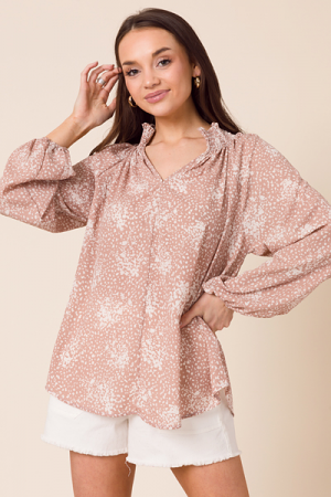High Neck Taupe Print Tunic