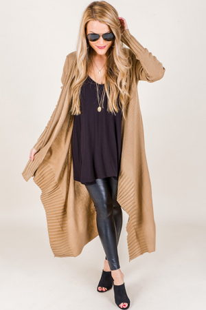 Riley Ribbed Duster, Mocha
