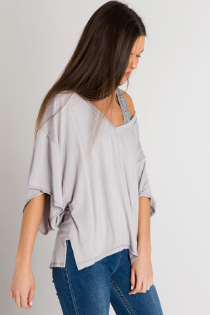 Mary Lou V-Neck, Heather Grey