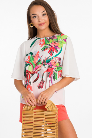 Flower Hour Chiffon Blouse, Ivory