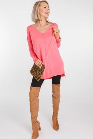 Everyday V Neck Tunic, Pink