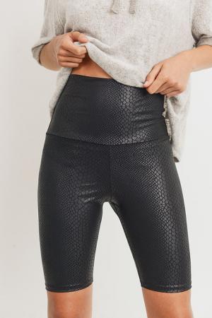 Snakeskin Biker Shorts, Black