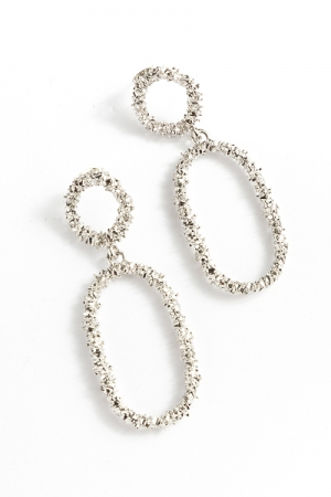 Textured Oval Hoops, Silver
