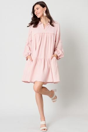 Oversize Gauze Dress, Pink