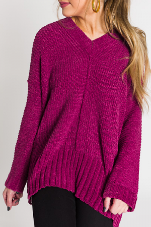 V Neck Chenille, Berry