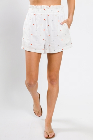 Stitched Dots Shorts, White