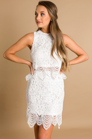 Rose Lace Set, Off White