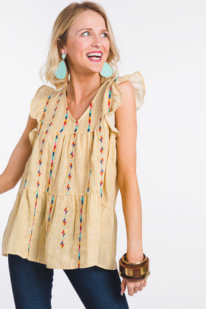 Pipe Line Embroidery Top, Yellow