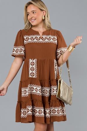 Zig Zag Stitch Dress, Brown