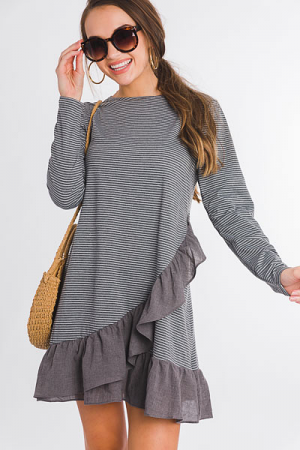 Ruffled Stripe Shirt Dress, Grey