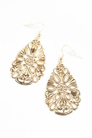 Flat Filigree Medallion Earrings
