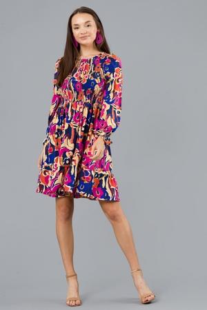 Florals LS Smock Dress, Multi