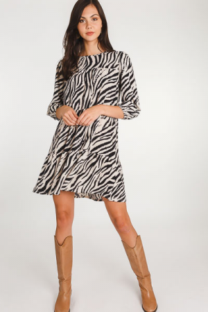 Zebra Tiered Dress, Black