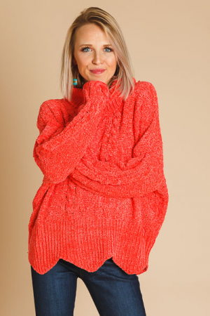 Scalloped Cable Chenille Turtleneck
