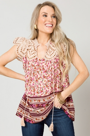 Floral Eyelet Top, Taupe