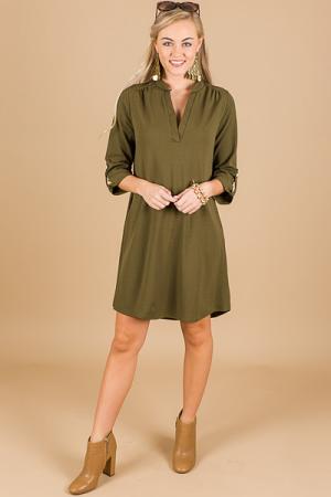 Split Neck Pocket Dress, Olive