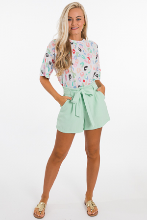 Trisha Tie Waist Shorts, Mint