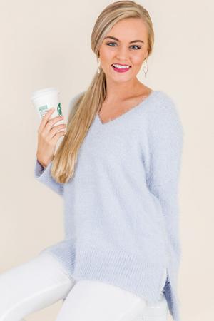 Fuzzy Sweater, Ice Blue