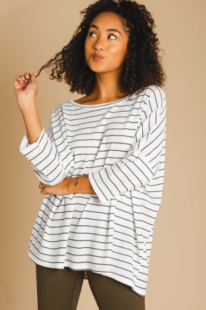 Oversized Stripe Thermal, White
