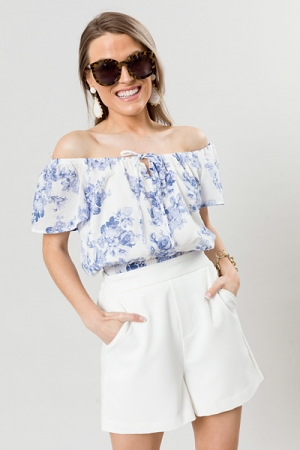 Renee Floral Band Top, Blue