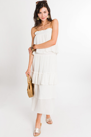 Ivory Tiers Smocked Dress