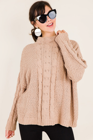Mock Neck Cable Sweater, Latte