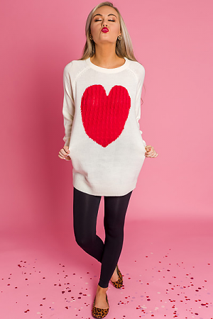 Red Heart Tunic Sweater