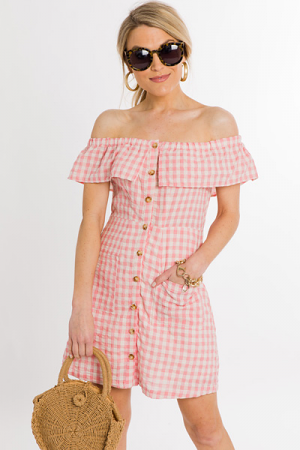 Gabby Gingham Dress, Rose