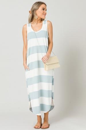 Colorblock Stripes Midi, Blue/Ivory