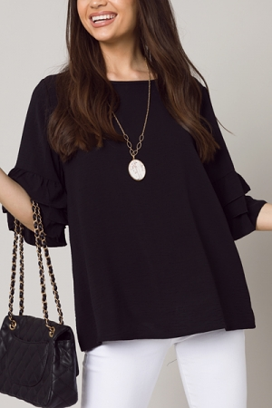 Ruffle Sleeve Blouse, Black