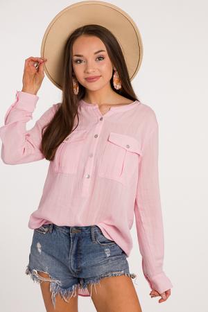 Cynthia Button Tunic, Pink