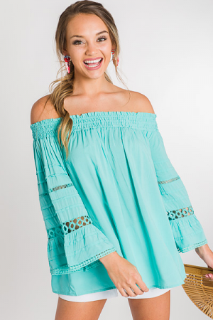 Pintuck Off Shoulder, Jade