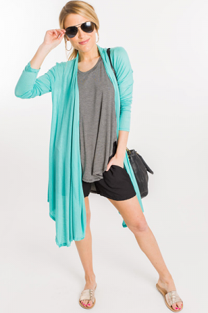 Ribbed Knit Cardigan, Mint
