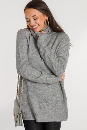 Regan Tunic Sweater, Gray