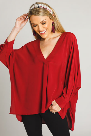 Solid Quarter Sleeve Blouse, Wine