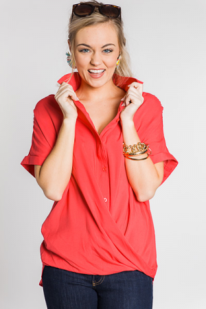 Twist and Shout Button Top, Coral