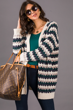 Chenille Wave Stripe Cardigan