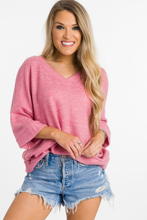 Brushed Boxy Top, Pink