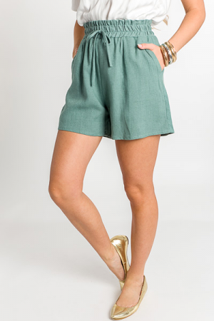 High Waist Linen Shorts, Green
