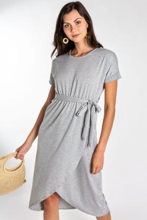 Sweatshirt Wrap Midi, H Grey